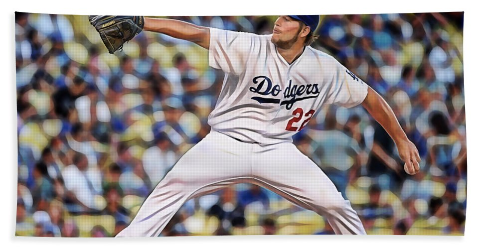 Clayton Kershaw Hand Towel featuring the mixed media Clayton Kershaw Baseball by Marvin Blaine