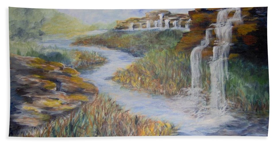 Waterfall Bath Sheet featuring the painting Cleansing by Saundra Johnson