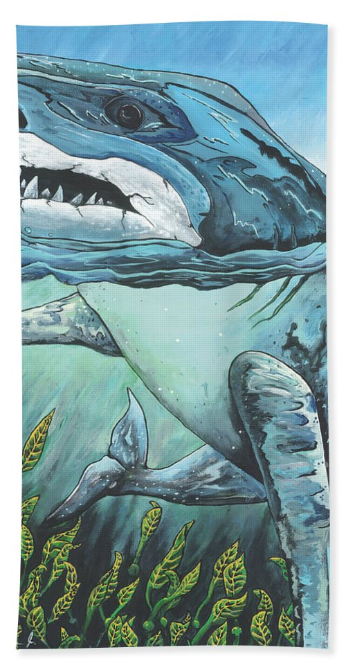 Shark Bath Sheet featuring the painting Cleansing Threat by Albien Gilkerson