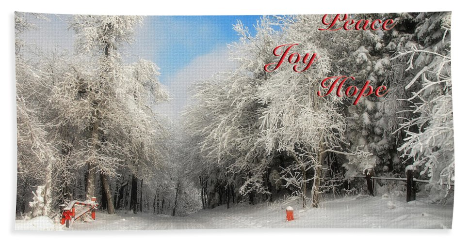 Christmas Hand Towel featuring the photograph Clearing Skies Christmas Card by Lois Bryan