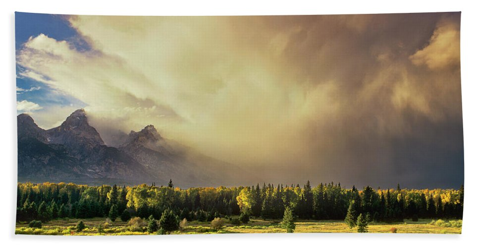North America Bath Towel featuring the photograph Clearing Summer Storm Grand Tetons National Park by Dave Welling