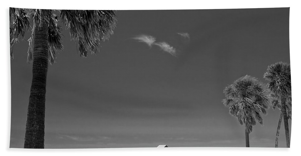 3scape Hand Towel featuring the photograph Clearwater Beach Bw by Adam Romanowicz