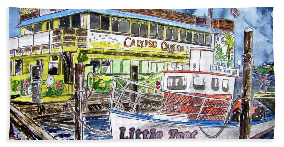 Seascape Hand Towel featuring the painting Clearwater Florida Boat Painting by Derek Mccrea