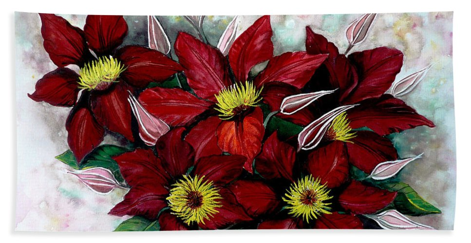 Flower Painting Floral Painting Red Painting Botanical Painting Clematis Painting Greeting Card Painting Flower Vine Painting Bath Sheet featuring the painting Clematis Niobe by Karin Dawn Kelshall- Best