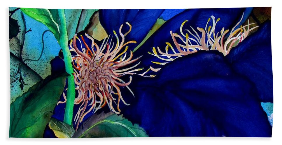 Lil Taylor Bath Sheet featuring the painting Clematis Regal In Purple And Blue Sold by Lil Taylor
