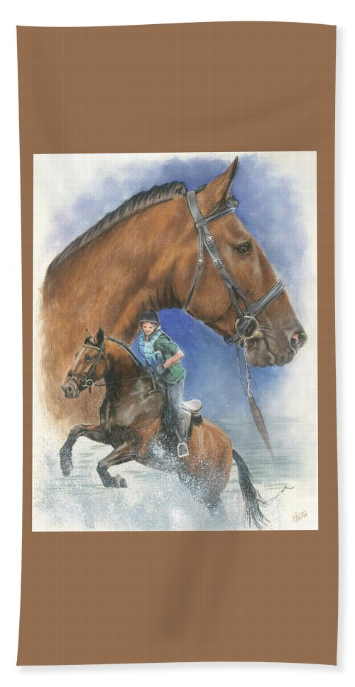 Hunter Jumper Hand Towel featuring the mixed media Cleveland Bay by Barbara Keith