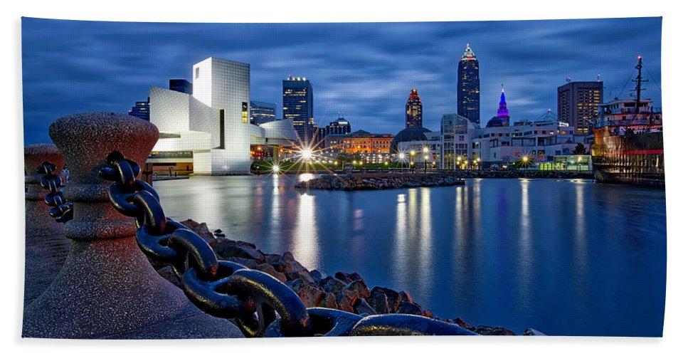 Cleveland Bath Sheet featuring the photograph Cleveland Rocks by Jackie Sajewski