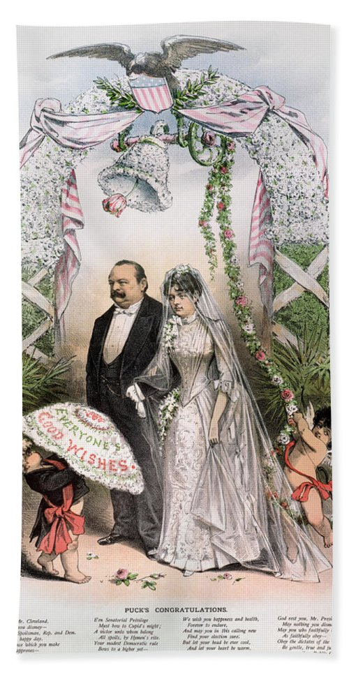 1886 Hand Towel featuring the photograph Clevelands Wedding, 1886 by Granger
