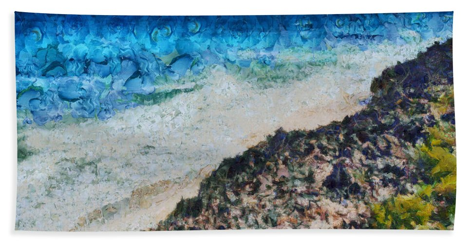 Sea Hand Towel featuring the photograph Cliff And Water by Ashish Agarwal
