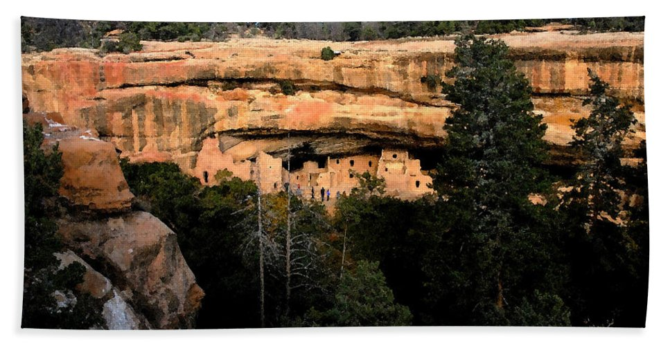 Cliff Dwellings Bath Sheet featuring the painting Cliff Dwelling by David Lee Thompson