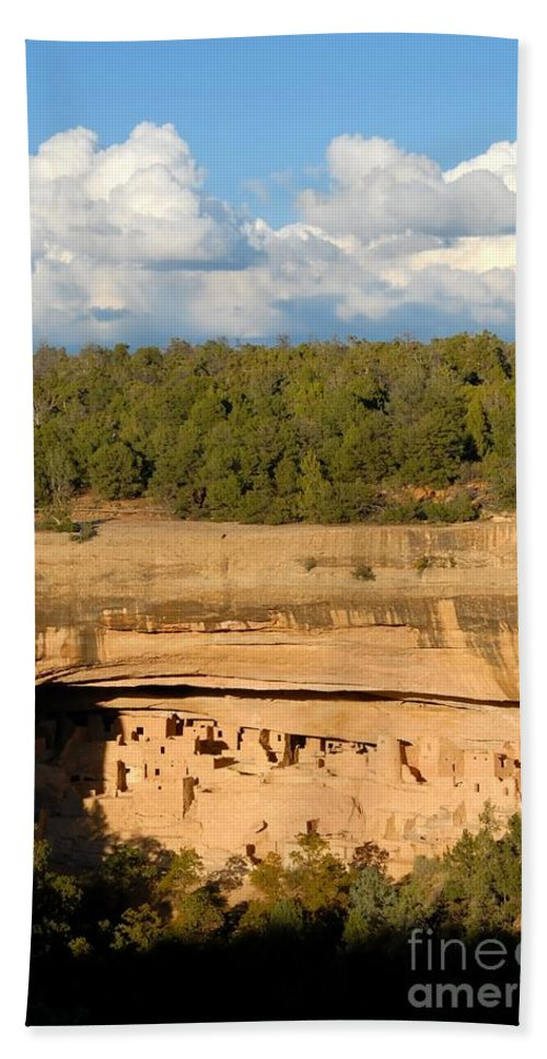 Cliff Palace Bath Towel featuring the photograph Cliff Palace Landscape by David Lee Thompson