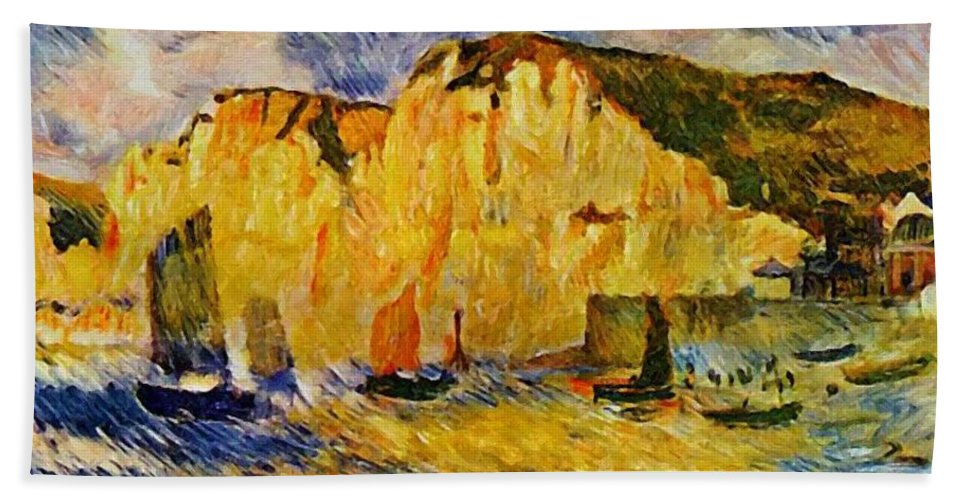 Cliffs Hand Towel featuring the painting Cliffs 1883 by Renoir PierreAuguste