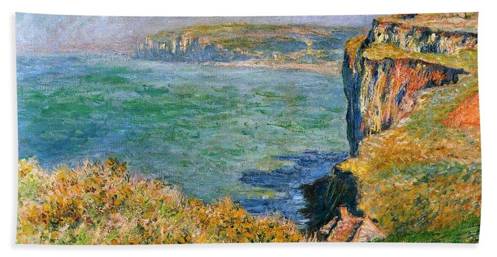 Claude Monet - Cliffs Near Pourville Bath Sheet featuring the painting Cliffs Near Pourville by MotionAge Designs