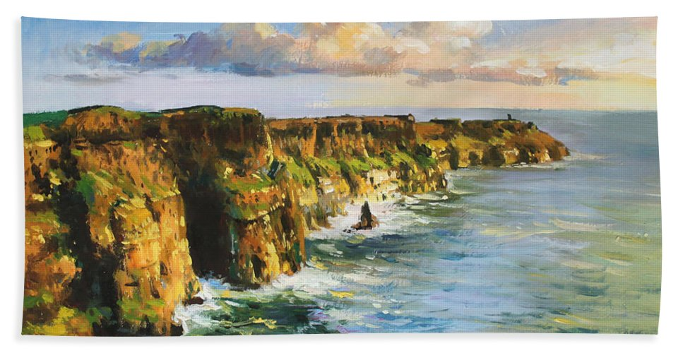 Cliffs Mohar Bath Sheet featuring the painting Cliffs Of Mohar 2 by Conor McGuire