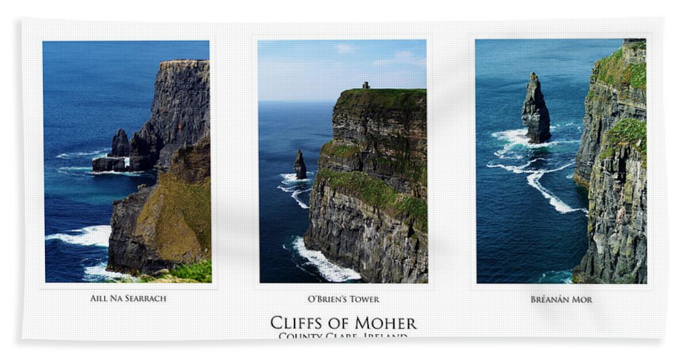 Irish Hand Towel featuring the photograph Cliffs Of Moher Ireland Triptych by Teresa Mucha
