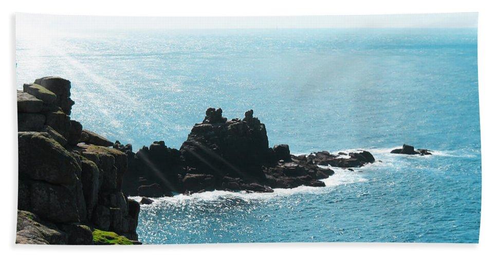 Aqua Bath Sheet featuring the photograph Cliffs by Svetlana Sewell