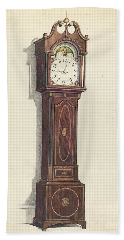 Hand Towel featuring the drawing Clock by Louis Annino And Harry Eisman And Arsen Maralian