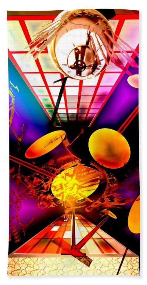Clock Bath Sheet featuring the digital art Clock-sync by Helmut Rottler
