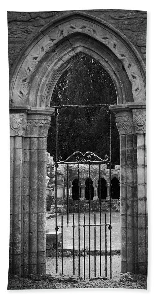 Irish Bath Towel featuring the photograph Cloister View Cong Abbey Cong Ireland by Teresa Mucha