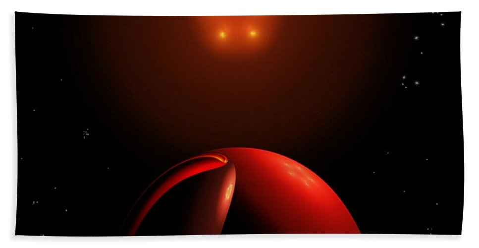 Abstract Hand Towel featuring the digital art Close Encounters II by David Lane