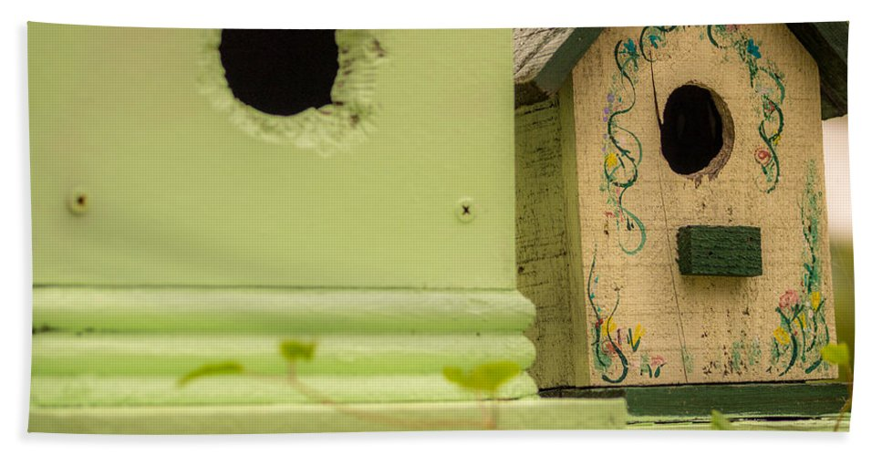 Birdhouse Bath Sheet featuring the photograph Close Neighbors by Michele James