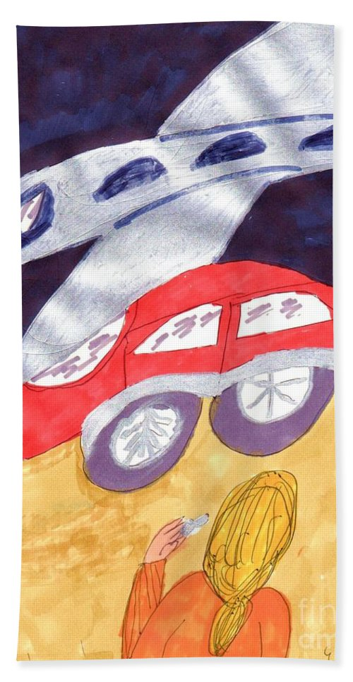 Plane Landing Near A Red Car Hand Towel featuring the mixed media Close To My New Car by Elinor Helen Rakowski