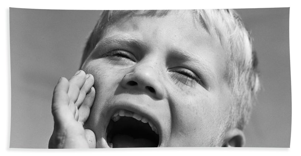 1950s Bath Sheet featuring the photograph Close-up Of Boy Shouting, C.1950s by D. Corson/ClassicStock