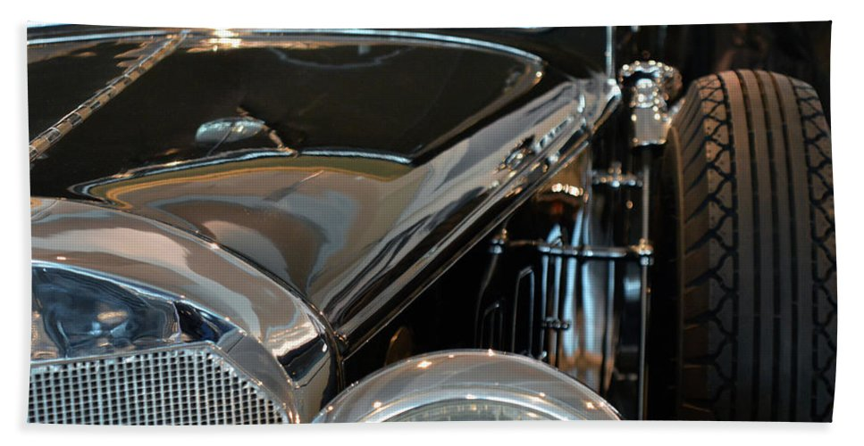 Car Bath Sheet featuring the photograph Close Up On Vintage Black Shining Car by Oana Unciuleanu