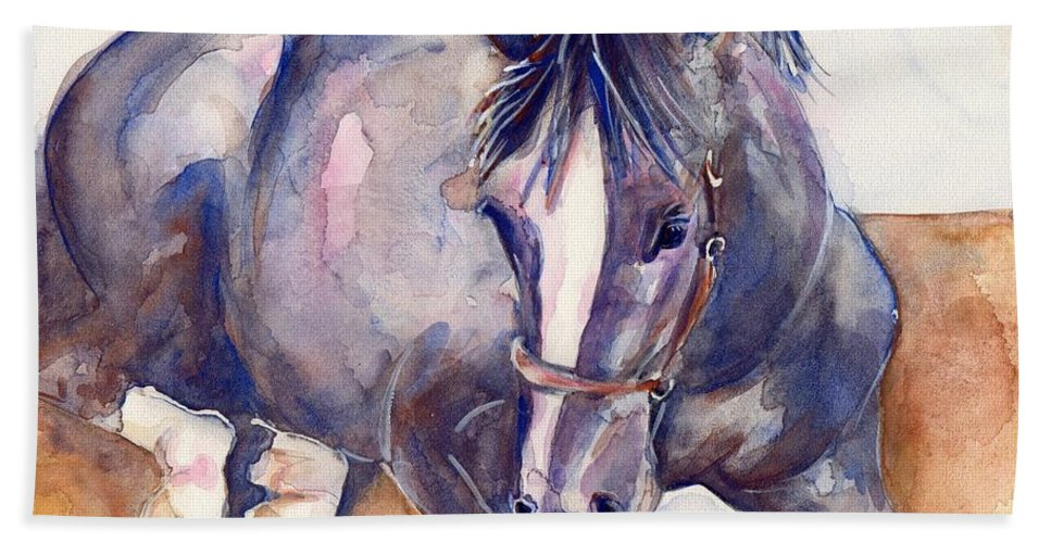 Horse Art Bath Sheet featuring the painting Close Your Eyes by Maria's Watercolor