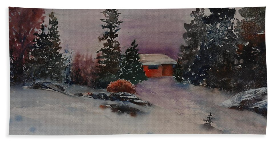 Cottage Bath Towel featuring the painting Closed For The Season by Ruth Kamenev