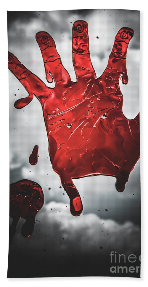 Murderer Hand Towel featuring the photograph Closeup Of Scary Bloody Hand Print On Glass by Jorgo Photography - Wall Art Gallery