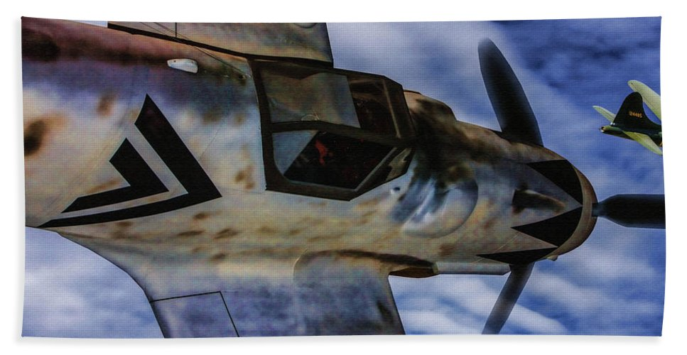 Messerschmidt Me-109 Bath Sheet featuring the digital art Closing In On A Straggler - Oil by Tommy Anderson