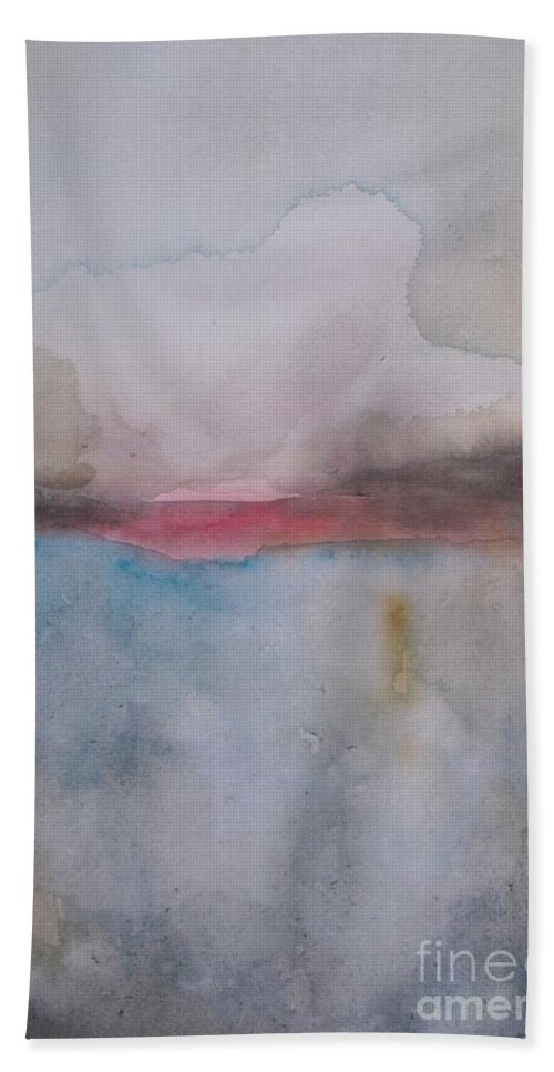 Abstract Hand Towel featuring the painting Cloud Over The Lake by Vesna Antic