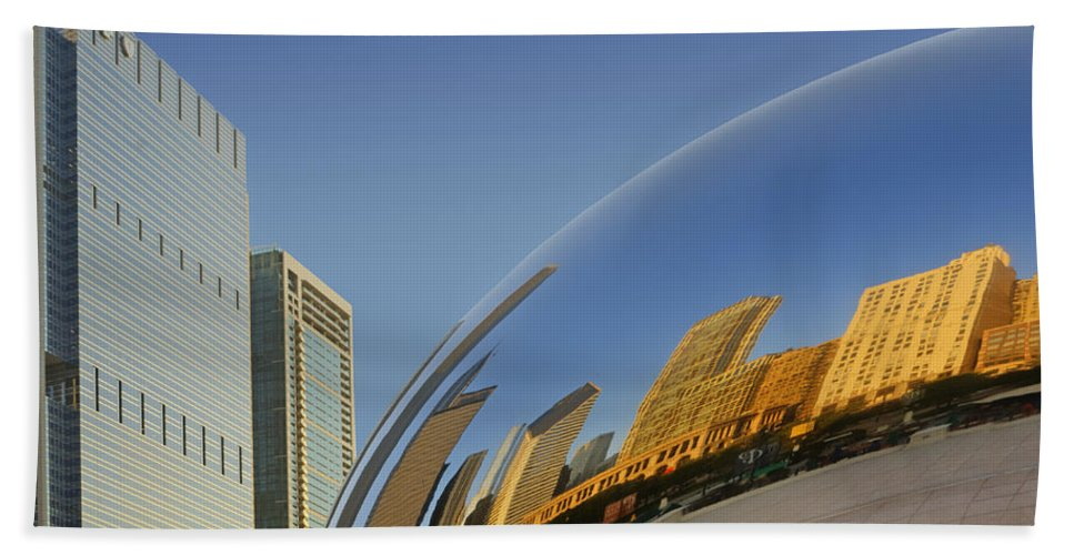 Cloud Gate Hand Towel featuring the photograph Cloud Gate - Reflection - Chicago by Nikolyn McDonald