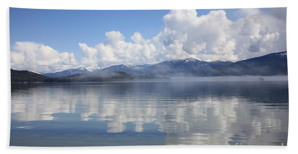 Clouds Bath Towel featuring the photograph Cloud Reflection On Priest Lake by Carol Groenen