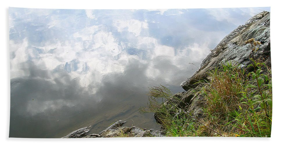 Clouds Bath Towel featuring the photograph Cloud Reflections by Deborah Benoit