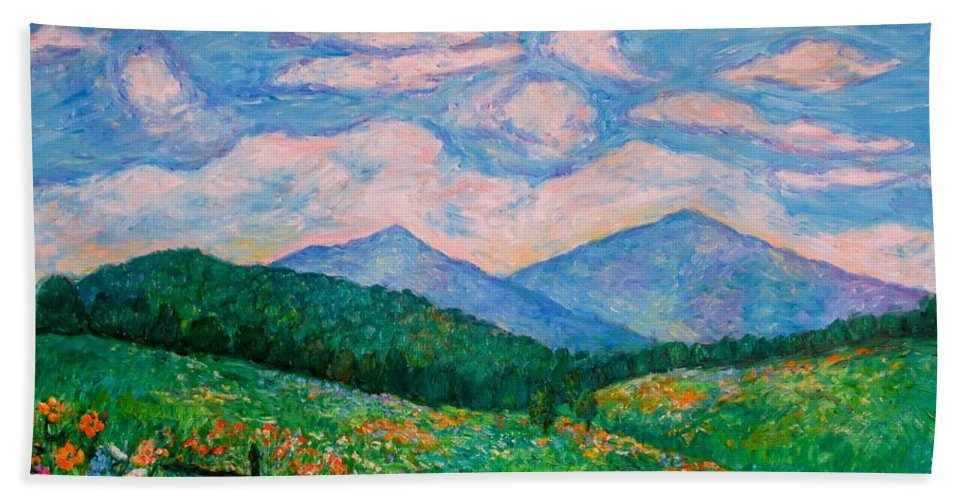 Kendall Kessler Hand Towel featuring the painting Cloud Swirl Over The Peaks Of Otter by Kendall Kessler