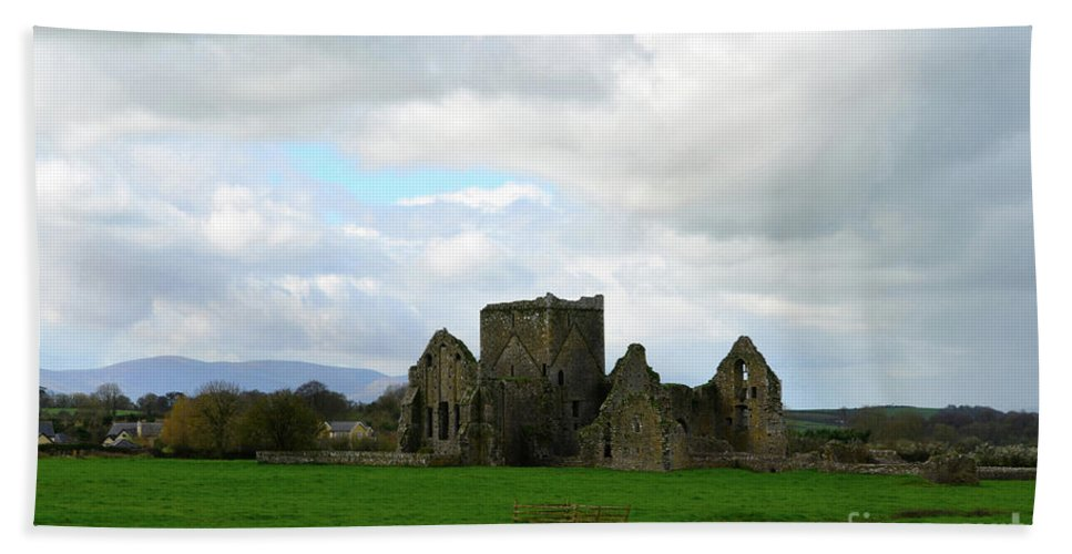 Hore Abbey Hand Towel featuring the photograph Clouds Above Hore Abbey by DejaVu Designs