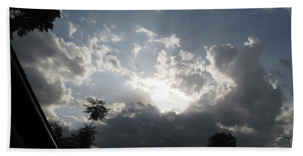 Dark Clouds Bath Sheet featuring the photograph Clouds Buildup by Asha Sudhaker Shenoy