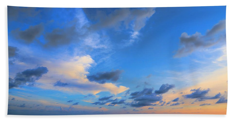Ocean Hand Towel featuring the photograph Clouds Drifting Over The Ocean by Theresa Campbell