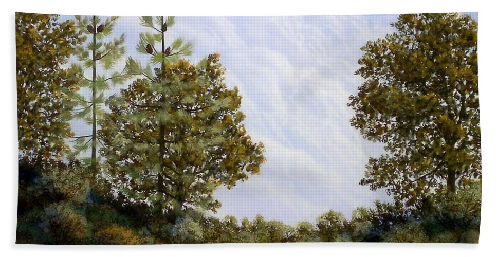 Landscape Bath Towel featuring the painting Clouds In Foothills by Frank Wilson