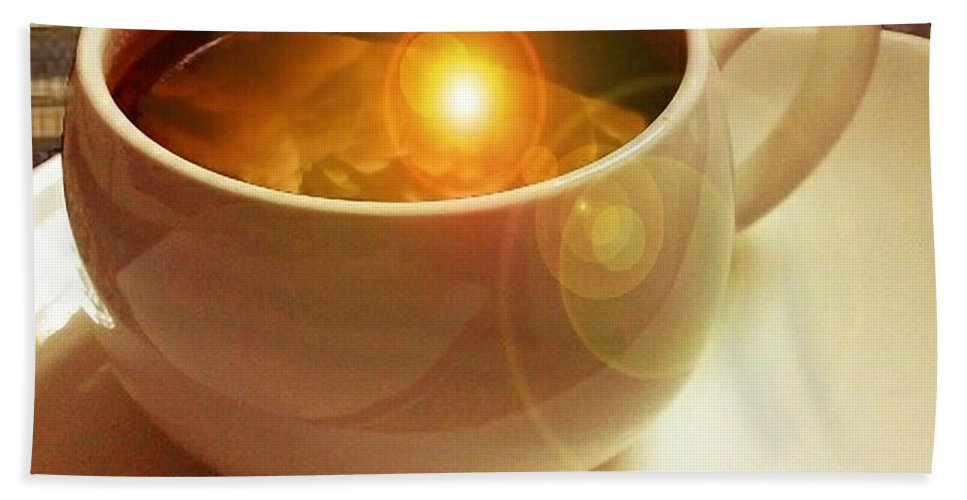 Cup & Saucer Hand Towel featuring the digital art Clouds In My Coffee by Ellen Cannon