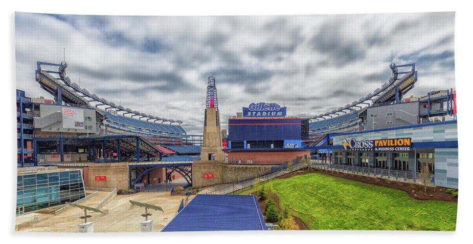 Clouds Over Gillette Stadium Bath Sheet featuring the photograph Clouds Over Gillette Stadium by Brian MacLean