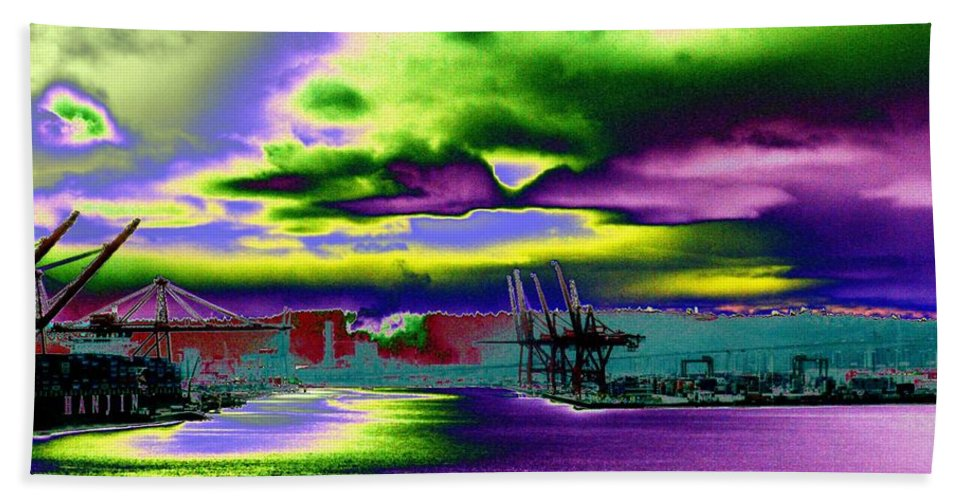 Seattle Hand Towel featuring the photograph Clouds Over Harbor Island by Tim Allen