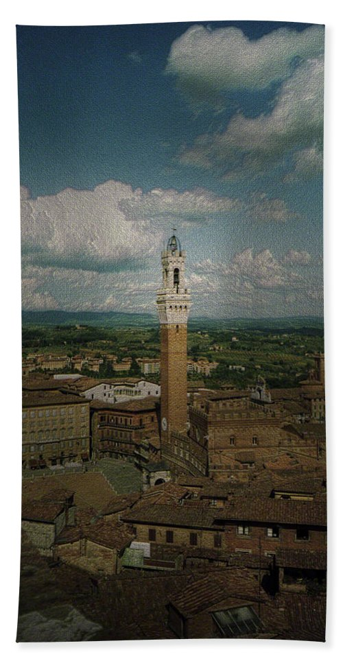 Canvas Prints Hand Towel featuring the photograph Clouds Over Siena by Maria Reverberi