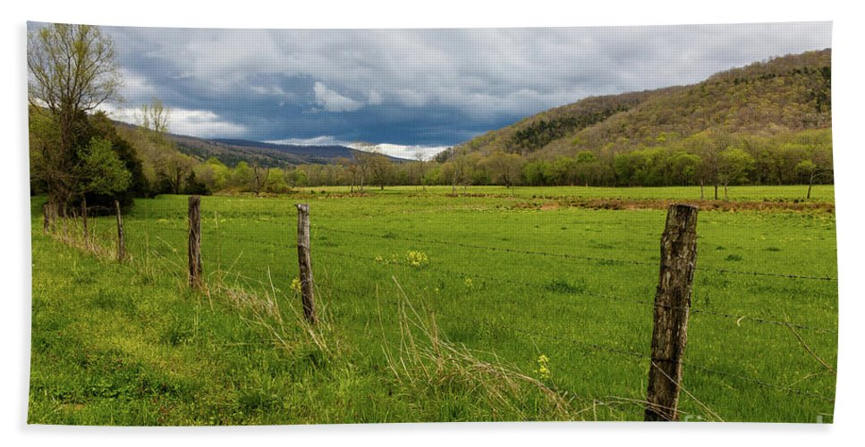 Arkansas Hand Towel featuring the photograph Clouds Over The Hills by Terri Morris