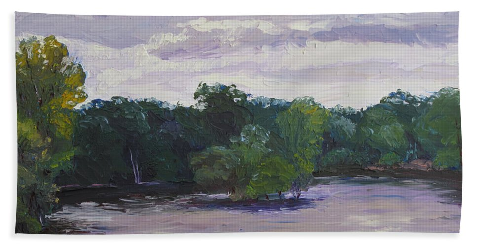Landscape Bath Sheet featuring the painting Clouds Over The Lake by Lea Novak