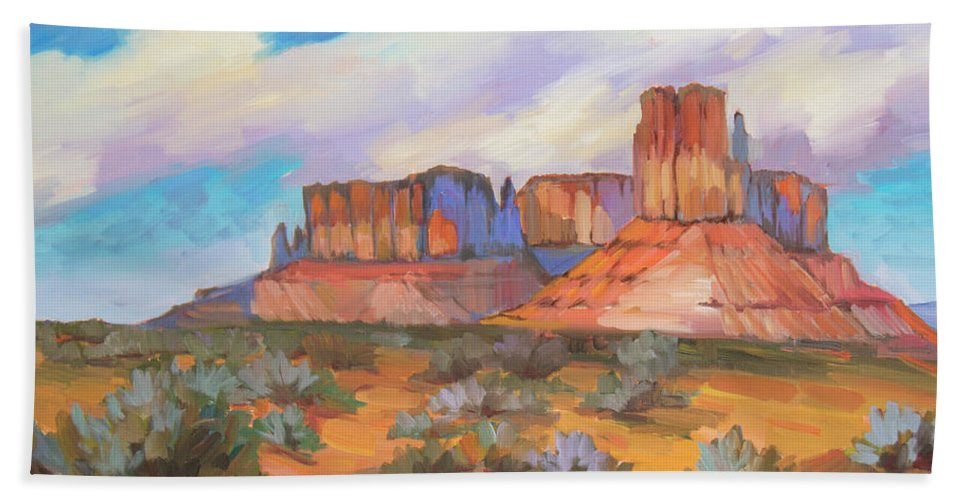 Monument Valley Bath Towel featuring the painting Clouds Passing Monument Valley by Diane McClary