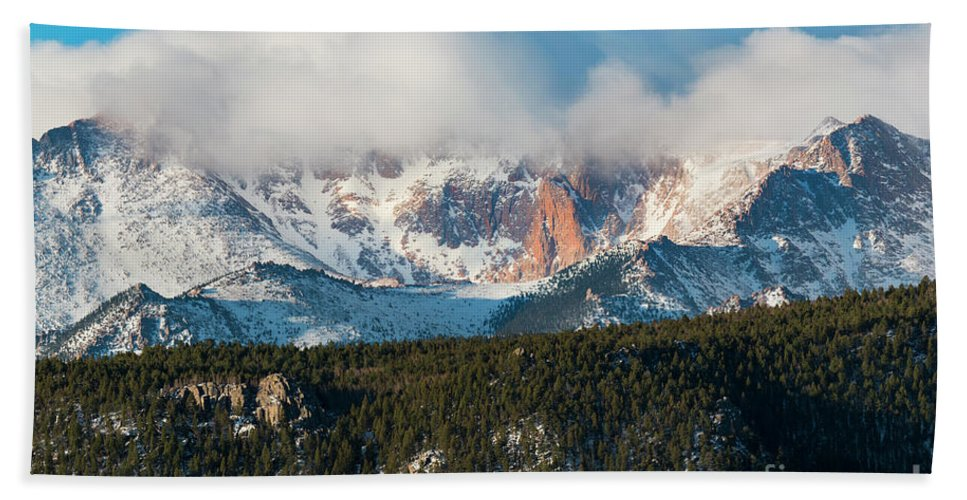 Pikes Peak Hand Towel featuring the photograph Clouds Receding On Pikes Peak by Steve Krull