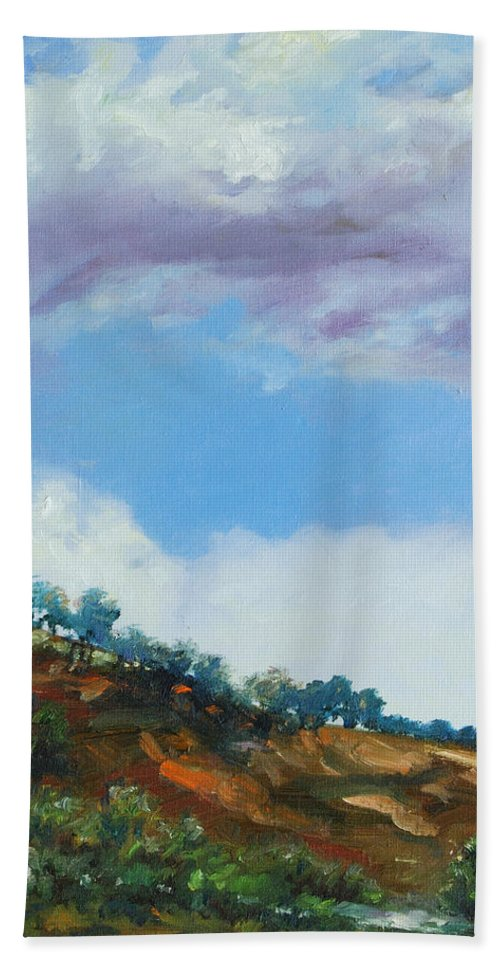 Sky Bath Towel featuring the painting Clouds by Rick Nederlof